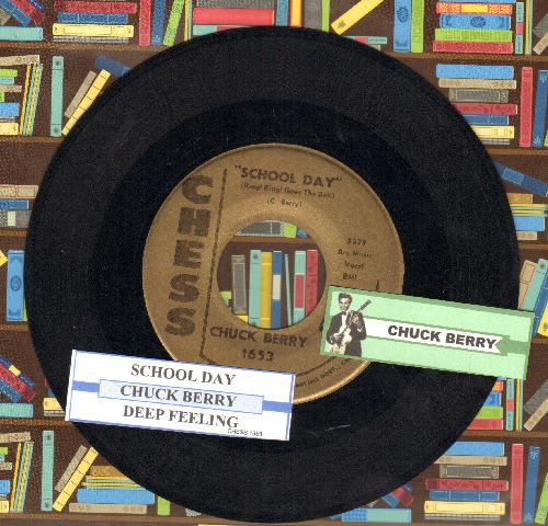 Berry, Chuck - School Day/Deep Feeling (gold label early re-issue with juke box label) - EX8/ - 45 rpm Records