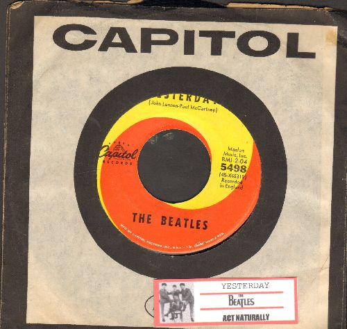 Beatles - Yesterday/Act Naturally (with juke box label and Capitol company sleeve) - EX8/ - 45 rpm Records