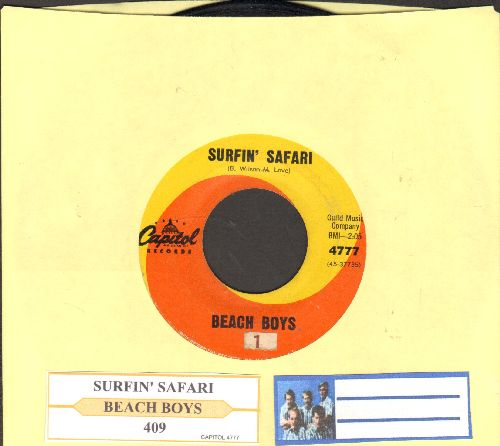 Beach Boys - Surfin' Safari/409 (first pressing with juke box label and Capitol company sleeve) - VG7/ - 45 rpm Records