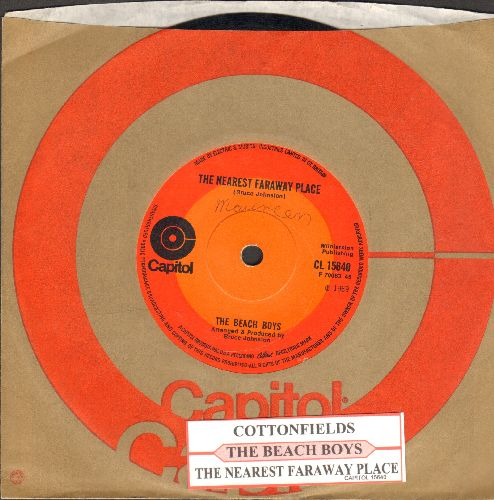 Beach Boys - Cottonfields/The Nearest Faraway Place (British Pressing, small spindle hole, with juke box label and company sleeve) - EX8/ - 45 rpm Records