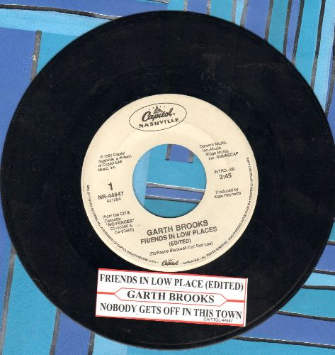 Brooks, Garth - Friends In Low Places (PARTY FAVORITE!)/Nobody Gets Off In This Town (with juke box label) - EX8/ - 45 rpm Records