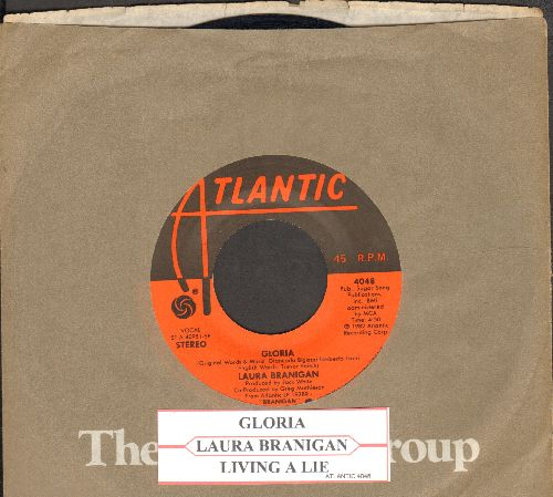 Branigan, Laura - Gloria (VICTORY SONG for St. Louis Blues, 2019 Stanley Cup CHAMPIONS!)/Living A Lie (with Atlantic company sleeve and juke box label) (minor wol) - EX8/ - 45 rpm Records