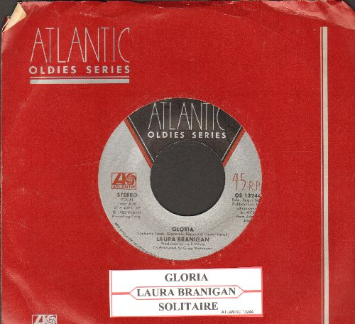 Branigan, Laura - Gloria (VICTORY SONG for St. Louis Blues, 2019 Stanley Cup CHAMPIONS!)/Solitaire (double-hit re-issue with juke box label and Atlantic company) - NM9/ - 45 rpm Records