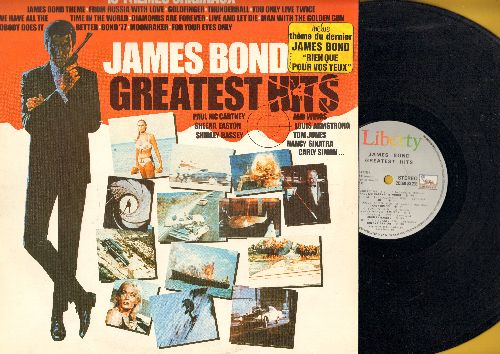 Barry, John, Lulu, Shirley Bassey, Louis Armstrong, others - James Bond Greatest Hits: From Russia With Love, Diamonds Are Forever, Thunderball, Live And Let Die (vinyl STEREO LP record, French Pressing) - NM9/EX8 - LP Records