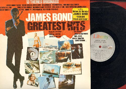 Barry, John, Shirley Bassey, Louis Armstrong, Nancy Sinatra, others - James Bond Greatest Hits: The James Bond Theme, Goldfinger, You Only Live Twice, From Russia With Love (vinyl STEREO LP record, French Pressing) - NM9/EX8 - LP Records