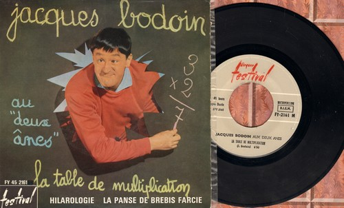 Bodoin, Jaques - Aux deux anes/La table de multiplication - Hilargogie - La Panse De Brebis Farcie (French Comedy EP with picture cover, French Pressing) - EX8/EX8 - 45 rpm Records