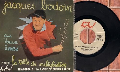 Bodoin, Jaques - Aux deux anes/La table de multiplication - Hilargogie - La Panse De Brebis Farcie (French Comedy EP with picture cover, French Pressing) - EX8/EX8 - 45 rpm Records