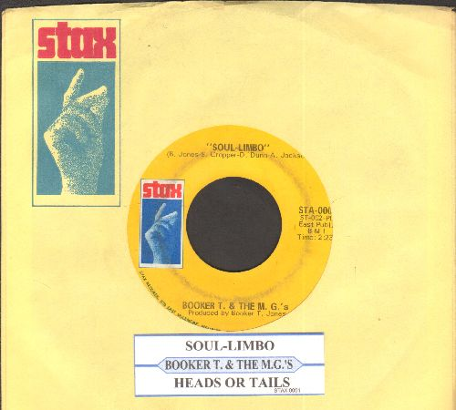 Booker T. & The M.G.'s - Soul Limbo/Heads Or Tails (with juke box label and Stax company sleeve) - EX8/ - 45 rpm Records