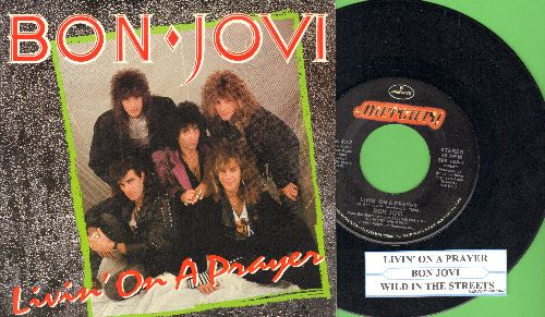 Bon Jovi - Livin' On A Prayer/Wild In The Streets (with juke box label and picture sleeve) - EX8/EX8 - 45 rpm Records