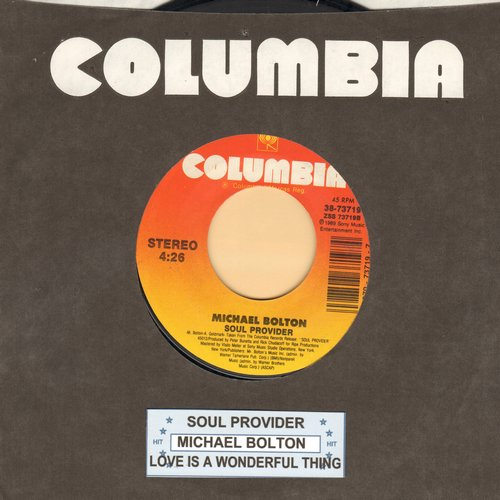 Bolton, Michael - Sould Provider/Love Is A Wonderful Thing (with Columbia company sleeve and juke box label) - M10/ - 45 rpm Records