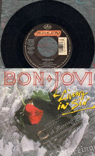 Bon Jovi - Living In Sin/Love Is War (with picture sleeve) - NM9/NM9 - 45 rpm Records