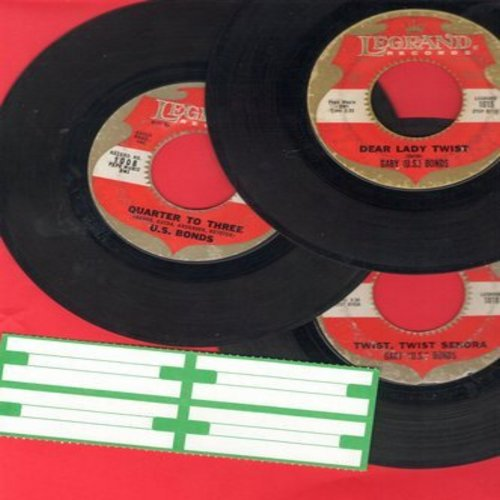 Bonds, Gary U.S. - 3-Pack of first issue 45s. Hits include Quarter To Three, Dear Lady Twist and Twist Twist Senora. Shipped in plain white paper sleeves and blank juke box labels.  - VG7/ - 45 rpm Records