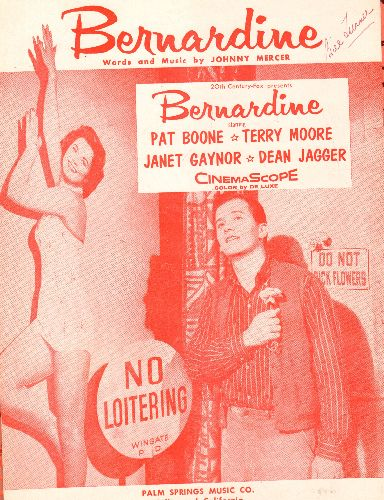 Boone, Pat - Bernardine - Vintage SHEET MUSIC for the ttile song from Pat Boone Movie - EX8/ - Sheet Music
