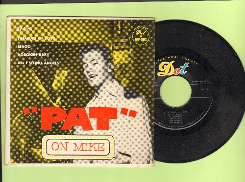 Boone, Pat - Pat On Mike: Treasure Of Love/Bingo/Hoboken Baby/Am I Seeing Angels (Vinyl EP record with picture cover) - NM9/EX8 - 45 rpm Records