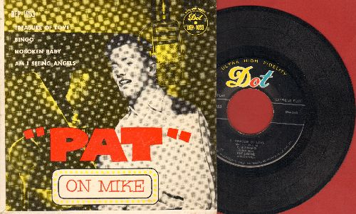 Boone, Pat - Pat On Mike: Treasure Of Love/Bingo/Hoboken Baby/Am I Seeing Angels (Vinyl EP record with picture cover) - EX8/EX8 - 45 rpm Records