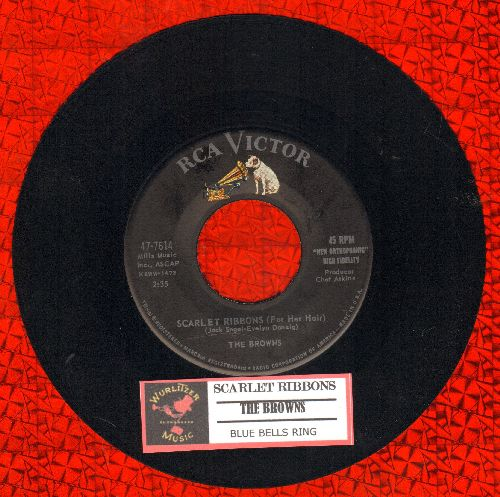 Browns - Scarlet Ribbons (For Her Hair)/Blue Bells Ring (with juke box label) - NM9/ - 45 rpm Records