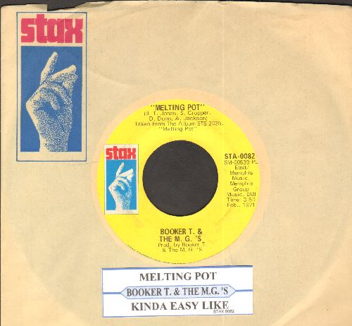 Booker T. & The M.G.'s - Melting Pot/Kinda Easy Like (with juke box label and Stax company sleeve) - EX8/ - 45 rpm Records