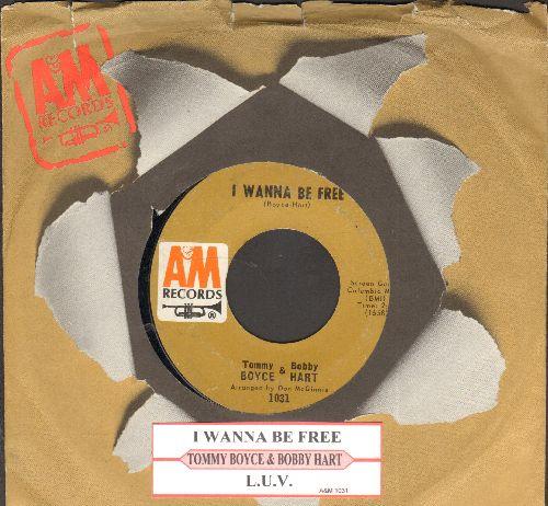Boyce & Hart - I Wanna Be Free/L.U.V. (with juke box label and A&M company sleeve) - EX8/ - 45 rpm Records