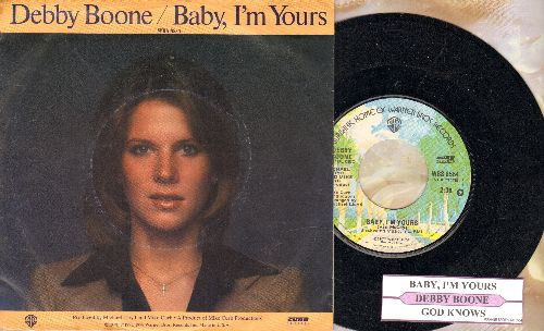 Boone, Debby - Baby, I'm Yours/God Knows (with juke box label and picture sleeve) - NM9/EX8 - 45 rpm Records