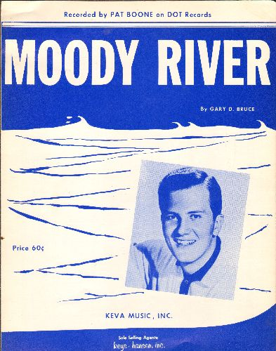 Boone, Pat - Moody River - Vintage SHEET MUSIC for the song most popularly recorded by Pat Boone. NICE portrait of Pat Boone! - NM9/ - Sheet Music