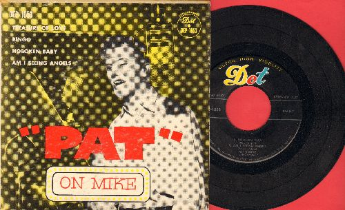 Boone, Pat - Pat On Mike: Treasure Of Love/Bingo/Hoboken Baby/Am I Seeing Angels (vinyl EP record with picture cover) - EX8/VG7 - 45 rpm Records