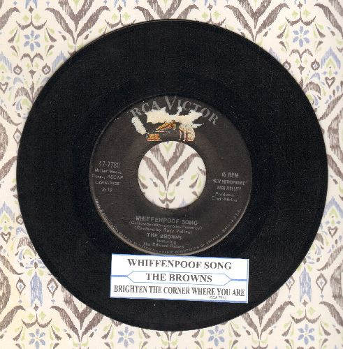 Browns - Whiffenpoof Song/Brighten The Corner Where You Are (with juke box label) - NM9/ - 45 rpm Records