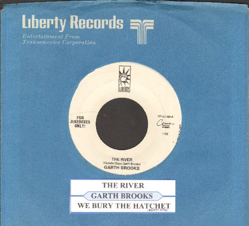 Brooks, Garth - The River/We Bury The Hatchet (with juke box label and Liberty company sleeve) - NM9/ - 45 rpm Records