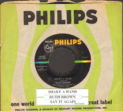 Brown, Ruth - Shake A Hand/Say It Again (with juke box label and Philips company sleeve) (bb) - NM9/ - 45 rpm Records