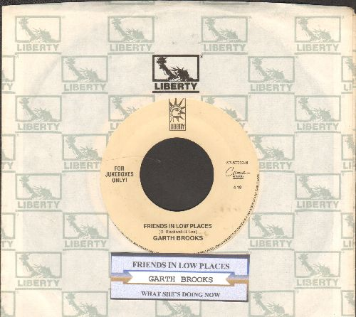 Brooks, Garth - Friends In Low Places/What She's Doing Now (with juke box label and Liberty company sleeve) - VG7/ - 45 rpm Records