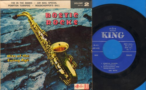 Bostoc, Earl - Bostic Rocks Vol. 2 - Hits Of The Swing Age: 720 In The Books/Air Mail Special/Pompton Turnpike/Woodpecker's Ball (Vinyl EP record with picture cover) - EX8/EX8 - 45 rpm Records