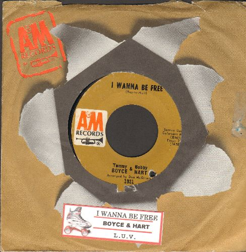 Boyce & Hart - I Wanna Be Free/L.U.V. (with juke box label and A&M company sleeve)(bb) - VG7/ - 45 rpm Records