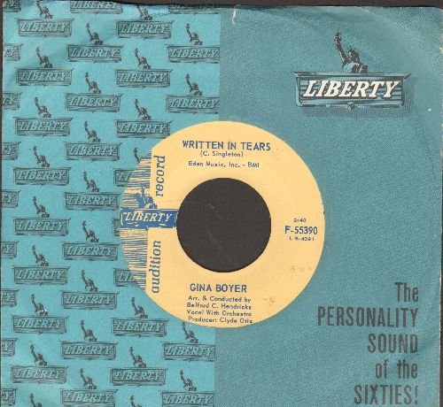 Boyer, Gina - Written In Tears/Jim (DJ advance pressing with vintage Liberty company sleeve) - NM9/ - 45 rpm Records