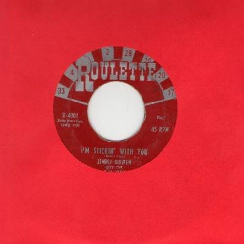 Bowen, Jimmy & The Rhythm Orchids - I'm Stickin' With You/Ever Lovin' Fingers (EARLY Pressing, burgundy label with large silver roulette numbers!) - VG7/ - 45 rpm Records