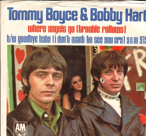 Boyce & Hart - Where Angels Go, Trouble Follows/Goodbye Baby (double-A-sided DJ advance pressing of Main Theme from film starring Hayley Mills and Rosalind Russell, with piture sleeve) (bb) - NM9/VG7 - 45 rpm Records