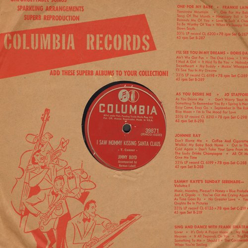 Boyd, Jimmy - I Saw Mommy Kissing Santa Claus/Thumbelina (10 inch 78 rpm record with vintage Columbia company sleeve) - VG7/ - 78 rpm