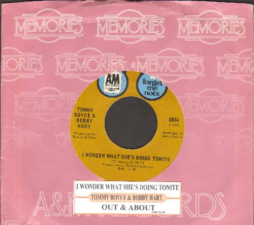 Boyce & Hart - I Wonder What She's Doing Tonight/Out & About (double-hit re-issue with juke box label and  company sleeve) - EX8/ - 45 rpm Records