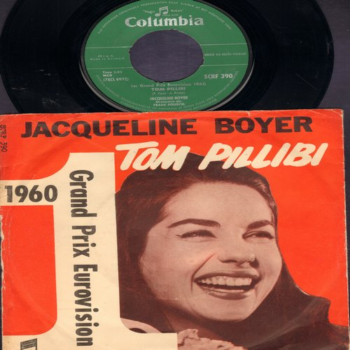 Boyer, Jaqueline - Tom Phillibi (WINNER Grand Prix D'Eurovision 1960)/Gouli Gouli Dou (Danish Pressing with picture sleeve sung in French) - NM9/VG7 - 45 rpm Records