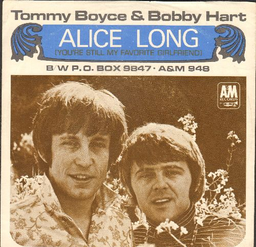 Boyce & Hart - Alice Long (You're Still My Favorite Girlfriend)/P.O. Box 9847 (with picture sleeve) (bb) - EX8/VG7 - 45 rpm Records