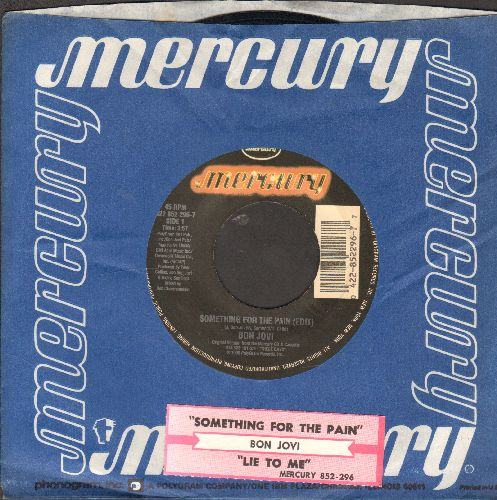 Bon Jovi - Something For The Pain/Lie To Me (with juke box label and company sleeve) - EX8/ - 45 rpm Records