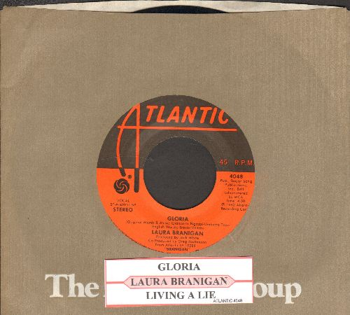 Branigan, Laura - Gloria (VICTORY SONG for St. Louis Blues, 2019 Stanley Cup CHAMPIONS!)/Living A Lie (with juke box label and Atlantic company sleeve) - EX8/ - 45 rpm Records