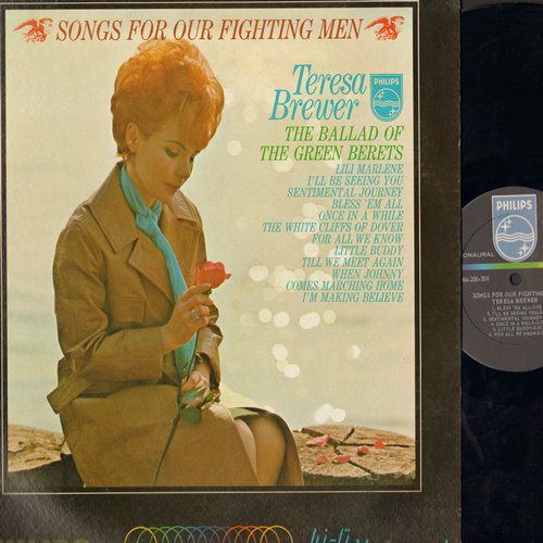 Brewer, Teresa - Songs For Our Fighting Men: The Ballad Of The Green Berets, Lili Marlene, For All We Know, The White Cliffs Of Dover (Vinyl MONO LP record) - NM9/VG7 - LP Records