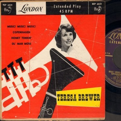 Brewer, Teresa - Music! Music! Music!/Copenhagen/Honky Tonkin'/Ol' Man Mose (Vinyl EP record with piture cover, British Pressing) - EX8/VG6 - 45 rpm Records