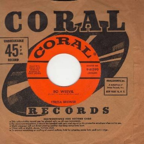 Brewer, Teresa - Bo Weevil/A Tear Fell (with vintage Coral company sleeve) - M10/ - 45 rpm Records