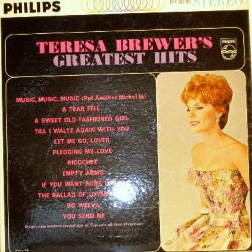 Brewer, Teresa - Greatest Hits: Music Music Music, Sweet Old Fashioned Girl, You Send Me, Pledging My Love, Let Me Go Lover (Vinyl MONO LP record) - EX8/EX8 - LP Records