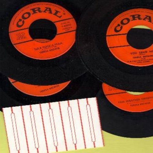 Brewer, Teresa - Vintage 45s 5-Pack: You Send Me, Bo Weevil, Lula Rock-A-Hula, Fair Weather Sweetheart. All records in very good or better condition, shipped in plain white paper sleeves with 5 blank juke box labels. GREAT for a Juke Box! - VG7/ - 45 rpm