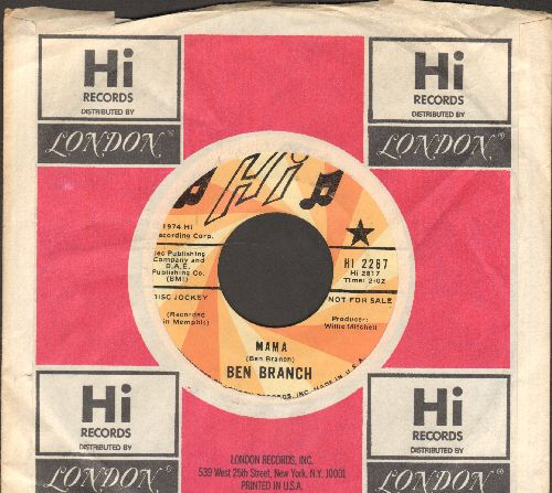 Branch, Ben - Mama/I Wish You Were Here (RARE DJ advance pressing with Hi company sleeve) - NM9/ - 45 rpm Records