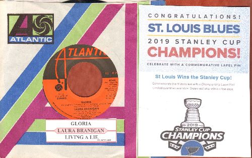 Branigan, Laura - Gloria (CONGRATULATIONS to  St. Louis Blues, 2019 Stanley Cup CHAMPIONS!)/Living A Lie (with juke box label and Atlantic company sleeve) - NM9/ - 45 rpm Records