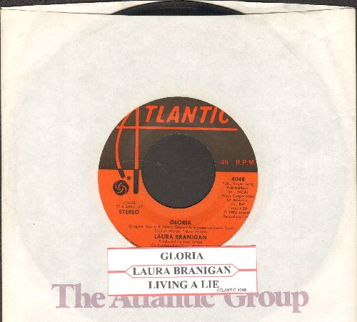 Branigan, Laura - Gloria (VICTORY SONG for St. Louis Blues, 2019 Stanley Cup CHAMPIONS!)/Living A Lie (with juke box label and company sleeve) - EX8/ - 45 rpm Records