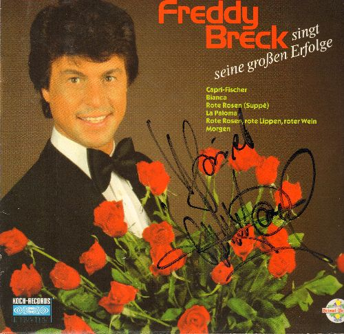 Breck, Freddy - Seine grossen Erfolge: Bianca, Capri-Fischer, Rote Rosen, La Paloma, Morgen (vinyl STEREO LP record, German Pressing, sung in German, with Original Autograph by the Singer!) - NM9/NM9 - LP Records