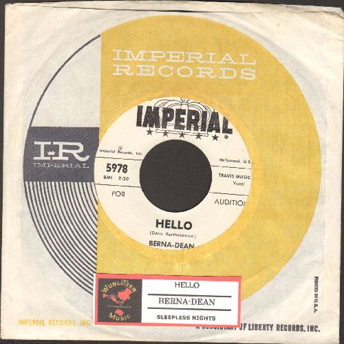 Berna-Dean - Hello/Sleepless Nights (DJ advance pressing with vintage Imperial company sleeve and juke box label) - NM9/ - 45 rpm Records